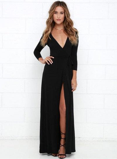 svart långärmad klänning med maxi-V-ringning