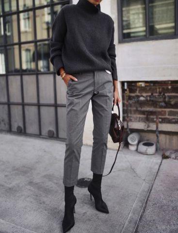 svart turtleneckgrå