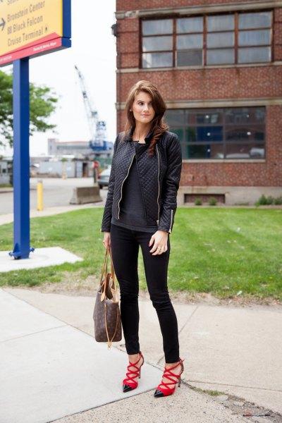 svart skinnjacka skinny jeans