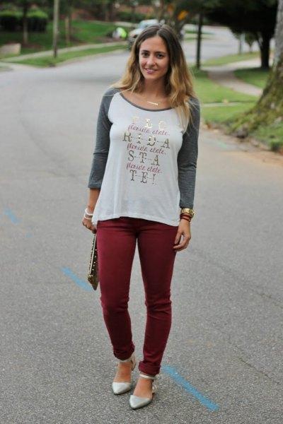 Tryckt långärmad t-shirt burgundy skinny pants