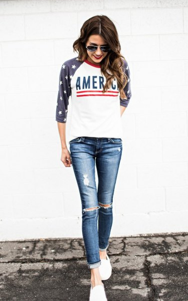 svart amerikansk flagga baseball t-shirt rippade skinny jeans