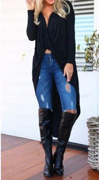 svart maxi kofta tröja med lågt skuren crop topp och overknee stövlar