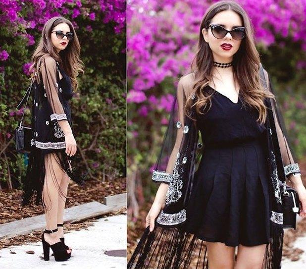 svart skater klänning ren kimono silver paljetter detaljer