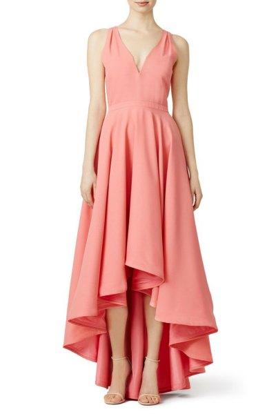 rodnad rosa v-ringad hög låg maxikocktailklänning