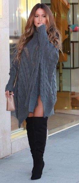 grå kabel stickad poncho tröja klänning med ärmar