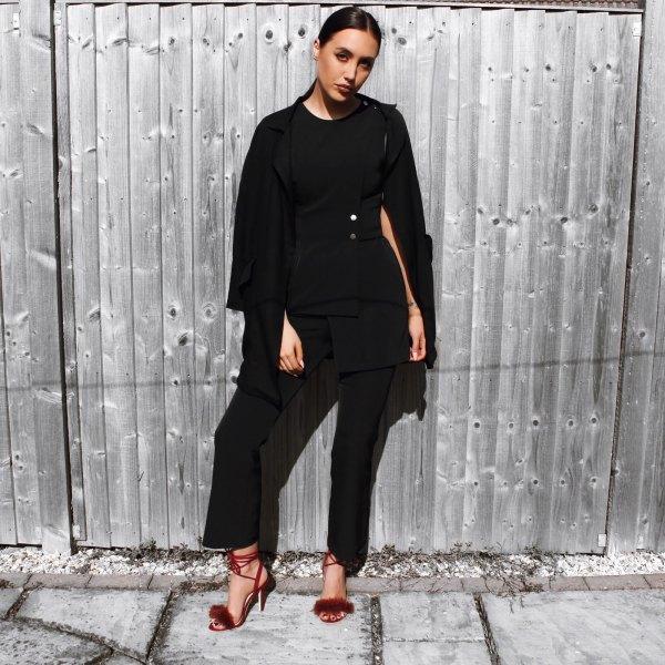 vinröd fluffiga klackar helt svart outfit