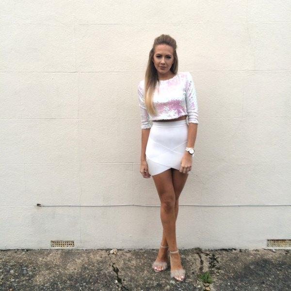 Silver kjol beskuren vit penna mini kjol
