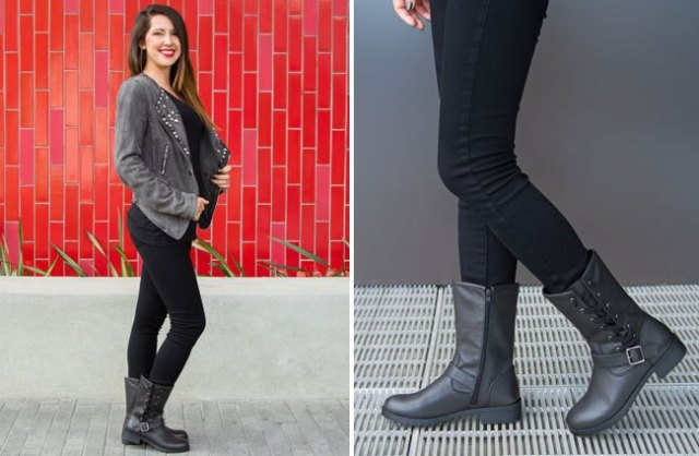 grå mockajacka med svart t-shirt och ankelstövlar i läder