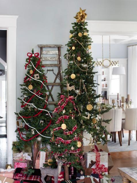 Hur man dekorerar flera julgranar  Små julgranar.