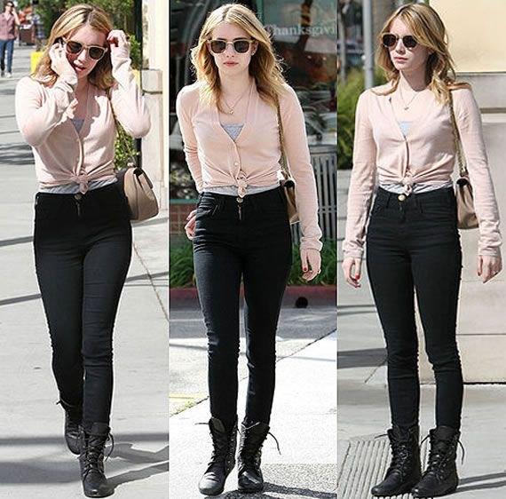 Elfenben knuten kofta med svarta skinny jeans och stridsstövlar