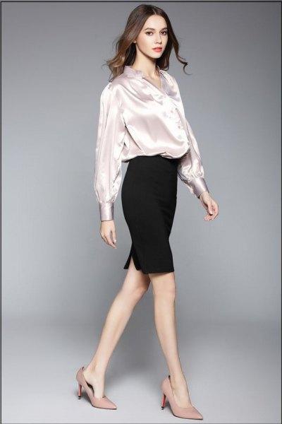 vit sidenblus med svart penna kjol