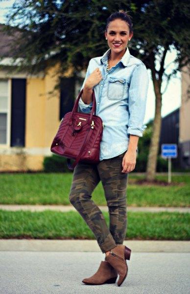 Pojkvän jeansskjortor armé camo byxor