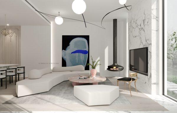 Dramatiska marmor accenter i 3 moderna hem av Shexia Space Design.