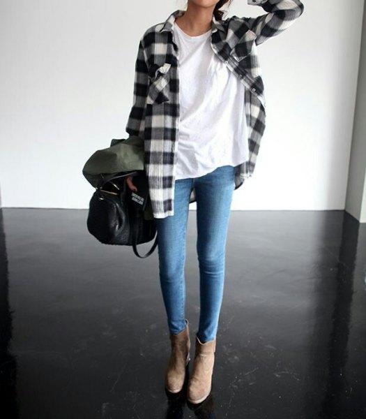 Flanell rutig skjorta vit t-shirt skinny jeans