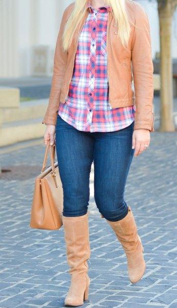 brun skinnjacka flanellskjorta