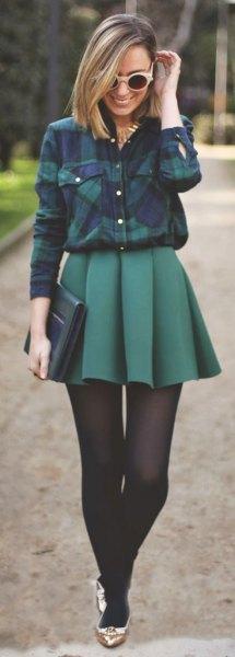 Flanell skjorta pläterad minikjol