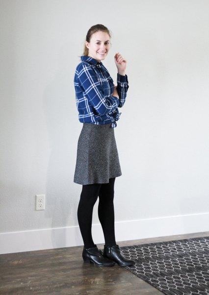 blå flanellskjorta knälång kjol