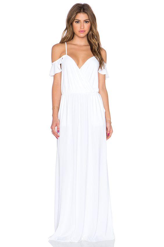 vit kall axel klänning maxi