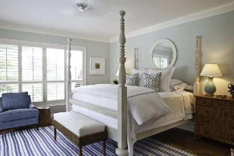 Endast möbler: Intressanta blågrå sovrumsidéer 20.