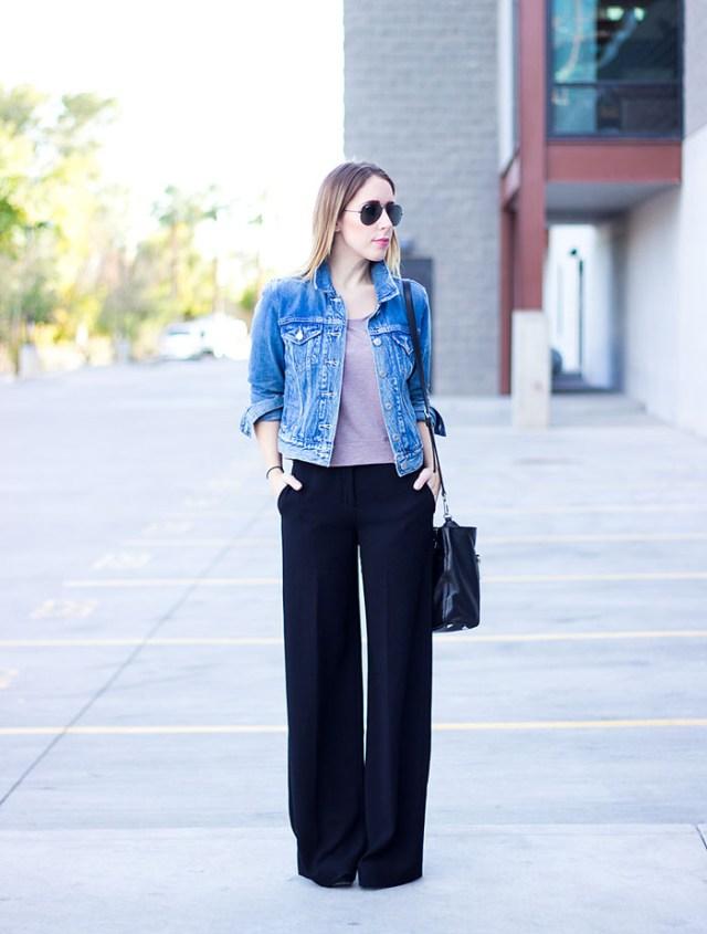 Jeansjacka svarta byxor med vida ben