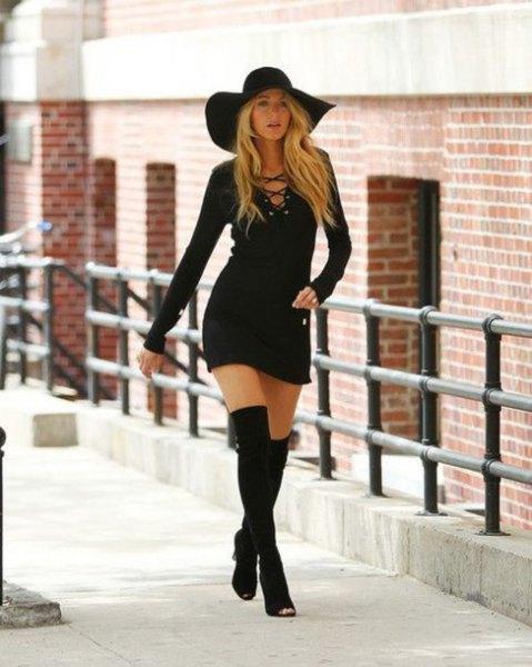 svart floppy hatt slips bröst bodycon klänning