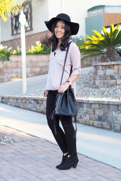 grå blus svarta skinny jeans