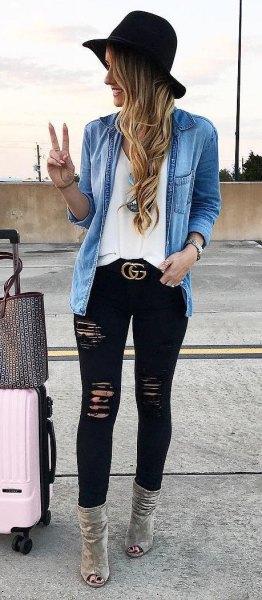 Jeansjacka svart skinny jeanshatt