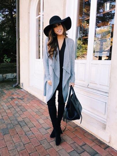 grå kofta läder leggings outfit