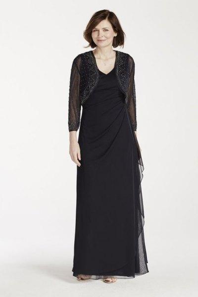 svart kort mesh jacka med golvlång skiftklänning