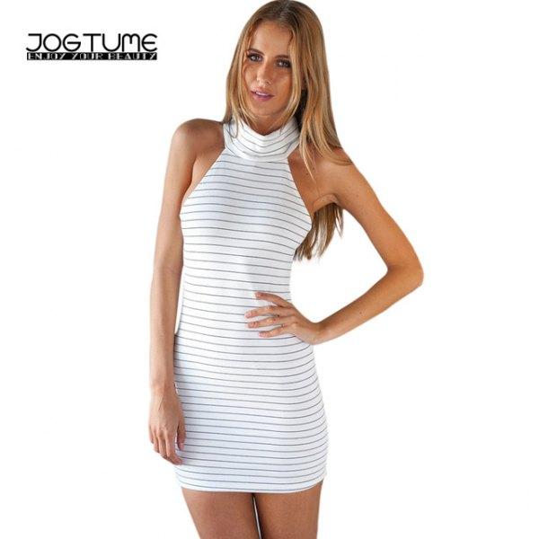 vit och grå randig mini bodycon klänning med mock hals