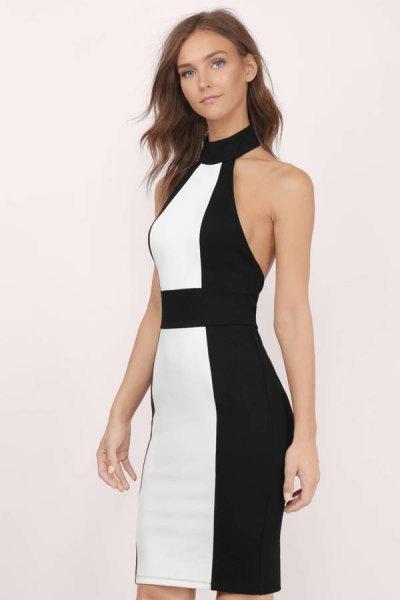 Svart och vit färgklänning med hög hals Bodycon miniklänning