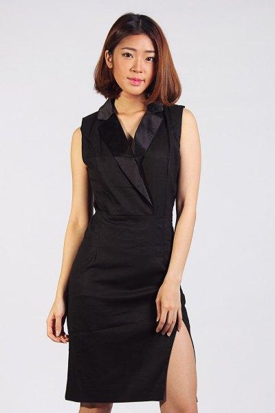 svart sidenkrage, rundad knälång västklänning