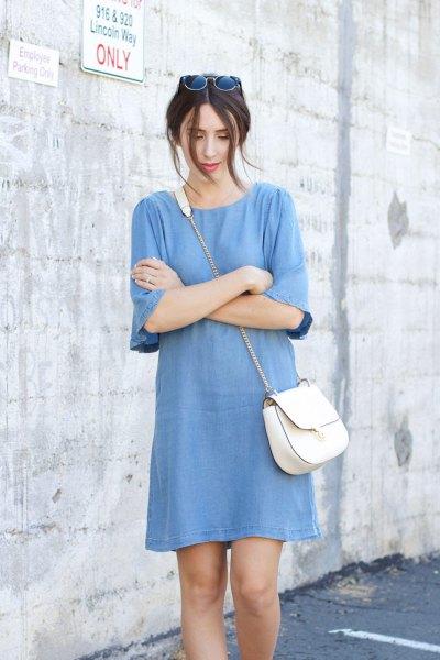blå chambray shift miniklänning med halva ärmar