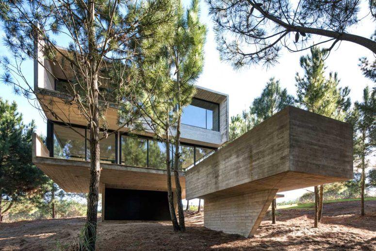 Minimalistiskt hus i träden som trotsar tyngdkraften  Husstilar.