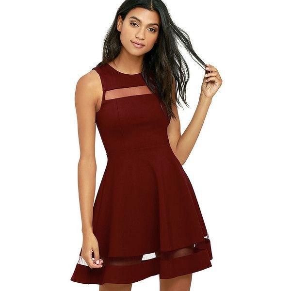 burgundy skater klänning