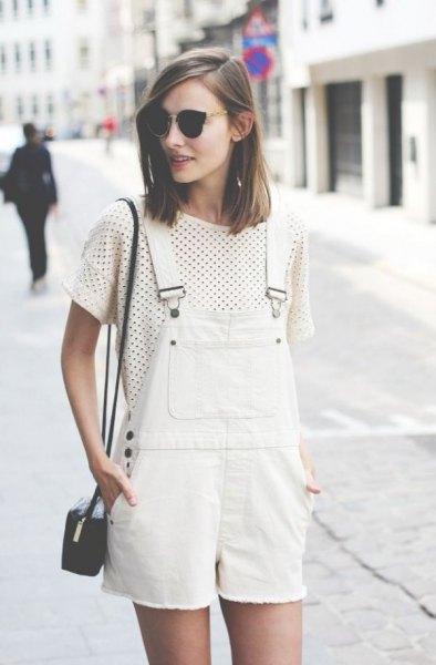 vit denim overall shorts polka dot t-shirt