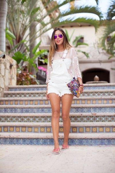 vit mesh jeansshorts med långa ärmar