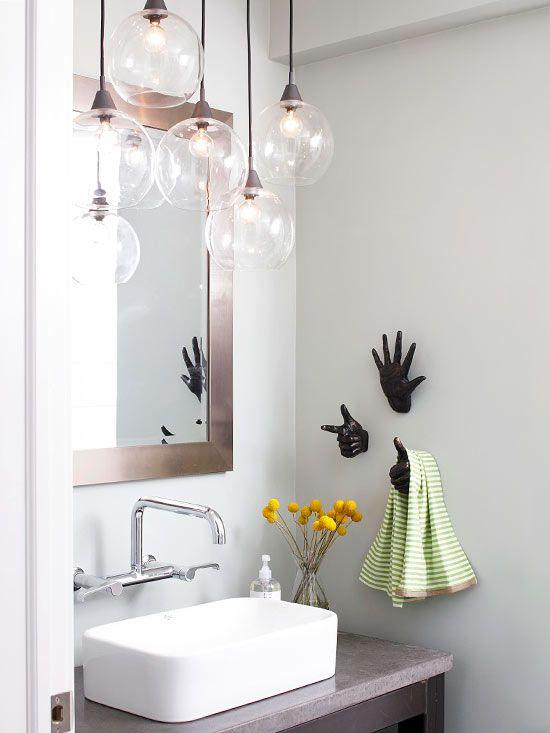 Våra bästa idéer för badrumsbelysning |  Hängande belysning i badrummet.