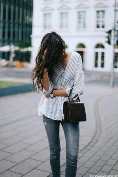 vita och grå överdimensionerade pinstripe skjorta jeans