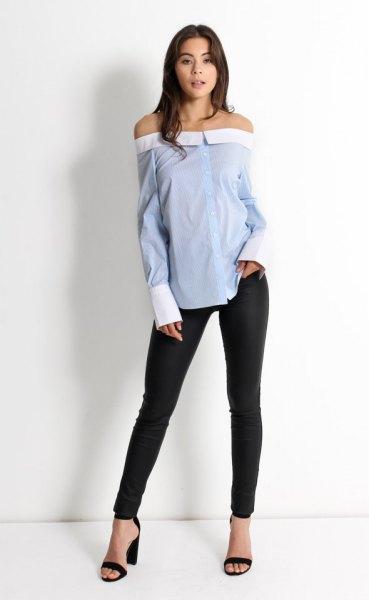 off shoulder blue pinstripe shirt svart skinny jeans