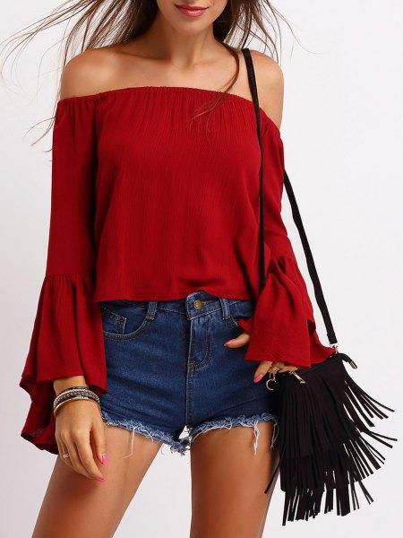 röd off shoulder jeansshorts