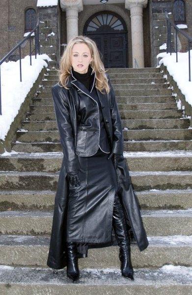 Maxi läderrock i läderkläder
