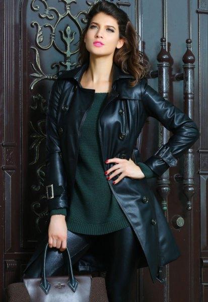 mörkgrå bekväm tröja läder gamacher