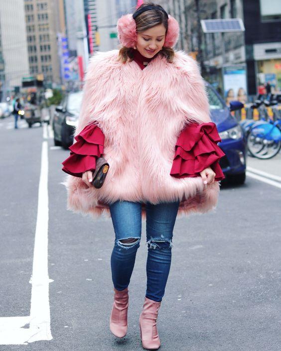 kappa i fuskpäls rosa