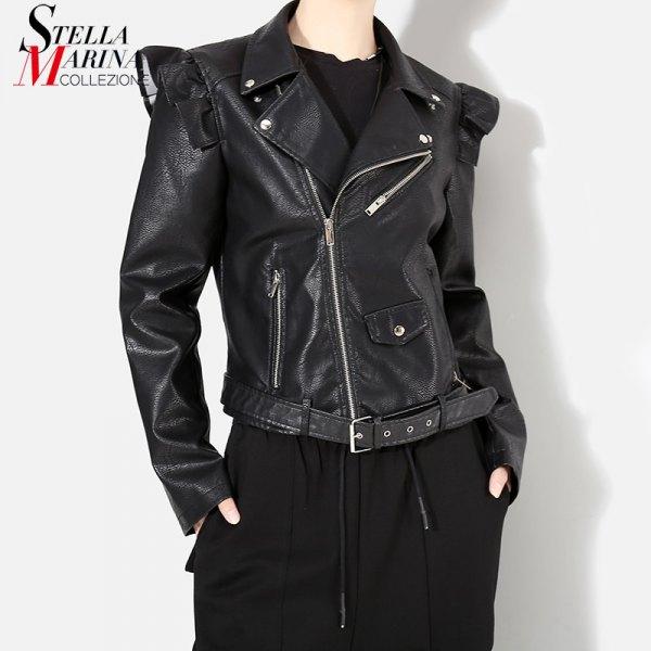svart punk puff axel läderjacka med vida byxor
