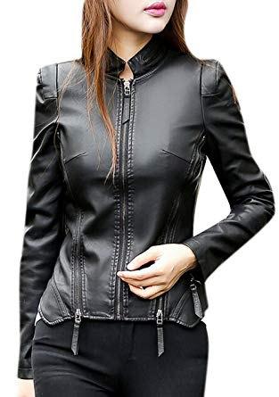 svart slim fit punk läderjacka med matchande smala jeans