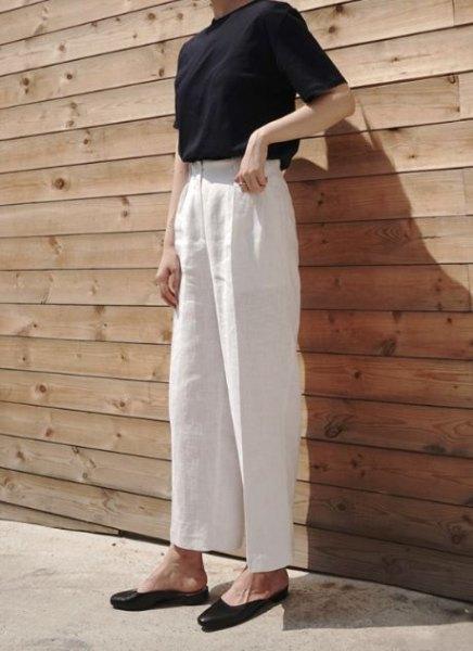vit svart topp hög midja linne byxor