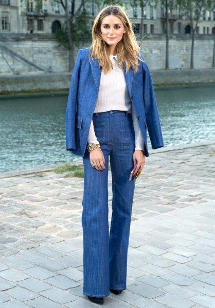 Jeans blazer hög midja flare jeans