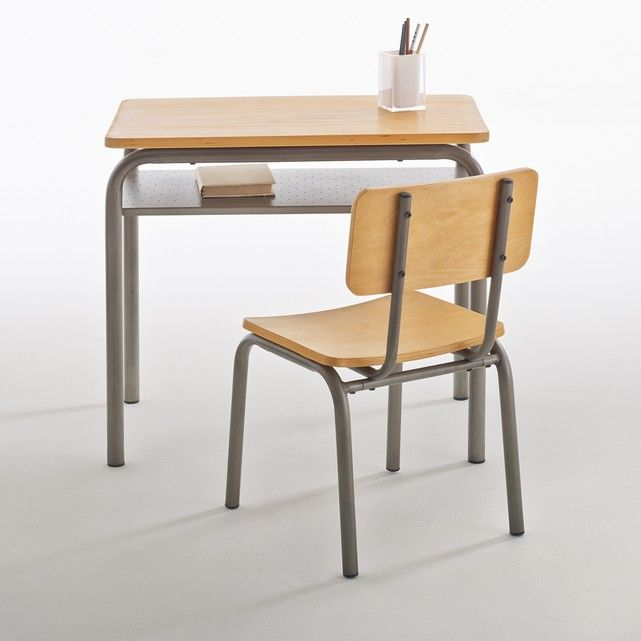 Buton Vintage Wood & Metal Skolskrivbord och stol |  Ordförande, skola.