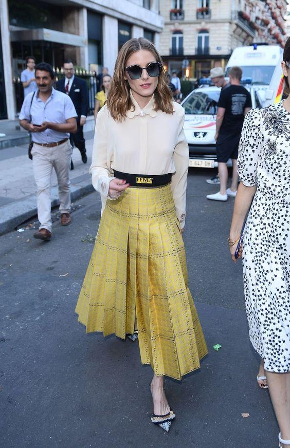 gul rutig kjol guld